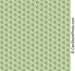 Green hexagon seamless pattern with 3d effect