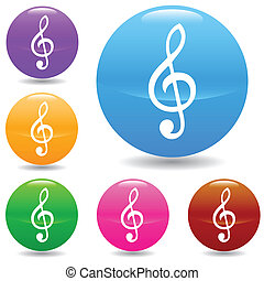 Clef buttons set in various colors. Vector illustration
