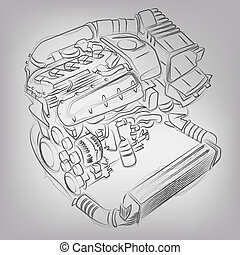 Abstract vector illustration of a sketched engine