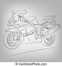 Abstract vector illustration of a sketched motorcycle