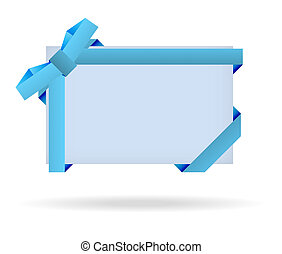 blue gift card with dotted ribbon, dotted bow and shadow on white background