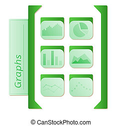 graphs icons with six types of graphs in green color on white background