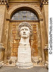 Ancient statue of Roman Emperor Gaius Julius Caesar Augustus at Vatican Museumsancient