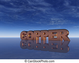copper - the word copper and blue sky - 3d illustration