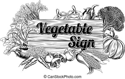 Vintage vegetable produce sign - A vintage retro woodcut...