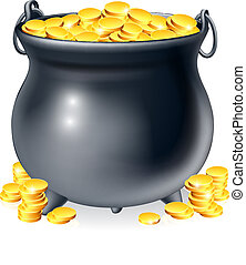 Cauldron full of gold coins - Illustration of cauldron or a...