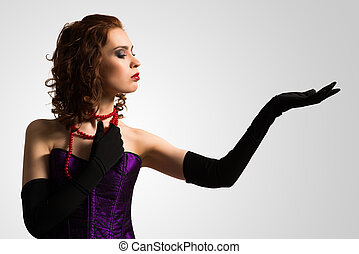 young attractive woman in corset