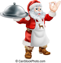 Santa Cook Christmas Dinner Concept - Cartoon Santa Claus...