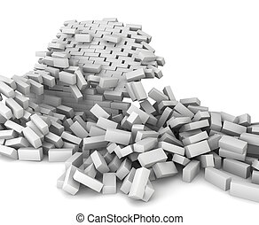 Destroyed brick wall. 3d illustration on white background