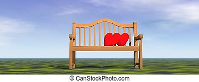 Love on a bench - 3D render - Tow red hearts for a couple on...