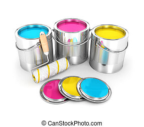 3d paint cans and roller brush, isolated white background,...