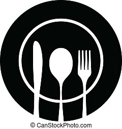 Cutlery black silhouette - Black silhouette of knife, fork...