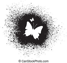 Butterfly silhouette - White silhouette of butterflies on...