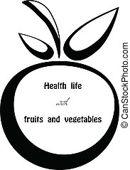 Health life - Black silhouette of apple eps10