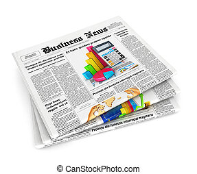 3d stack of newspapers, isolated white background, 3d image