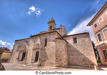 La collegiata - The facade of a medieval baptistery in San...