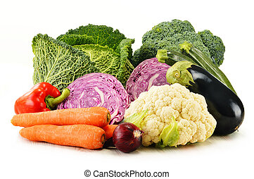 Variety of fresh organic vegetables isolated on white -...