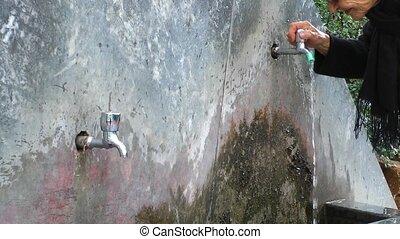 Elder Woman drinking water