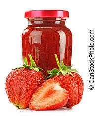 Jar of strawberry jam isolated on white background....