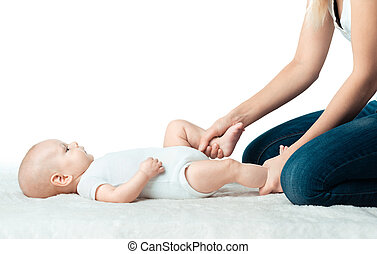 Baby with mum is making massage - Little baby with mum is...
