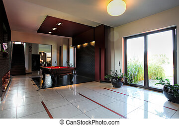 Billiard table inside modern house