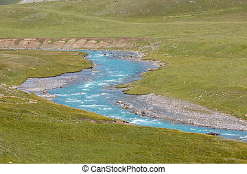 Bending blue river, Kirgizstan