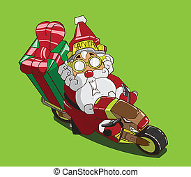 Santa Claus delivery - Christmas delivery. Santa Claus on a...