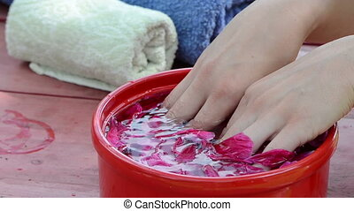 hand petals finger - women dunk your hands in water slaps...