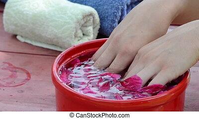 hand petals finger - women dunk your hands in water slaps...