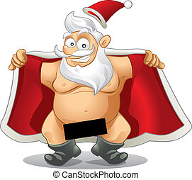 Crazy Santa - Vector Cartoon - Crazy vector of a flasher...