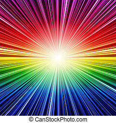 Abstract rainbow stripes burst background