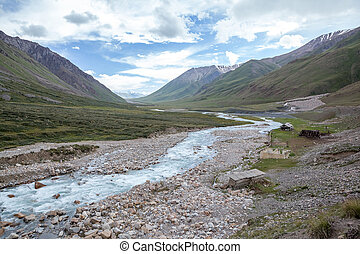 Countryside in Kirgizstan - Countryside at river in...