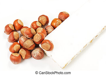 nougat and hazelnuts - Sweet nougat with hazelnuts isolated...