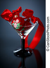 Christmas red hearts in a glass