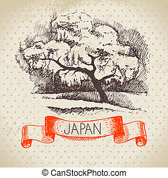 Hand drawn Japanese illustration Sketch and watercolor...