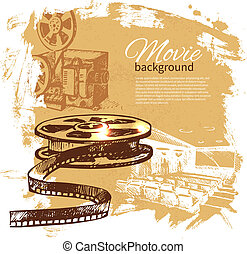 Movie background with hand drawn sketch illustration