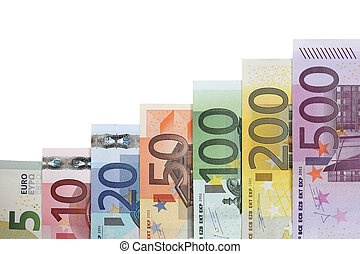 Banknotes graph growth and success topic - A Euro banknotes...