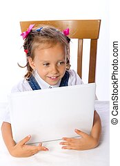 small girls with computer
