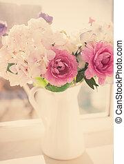 Flowers in a vase, vintage look