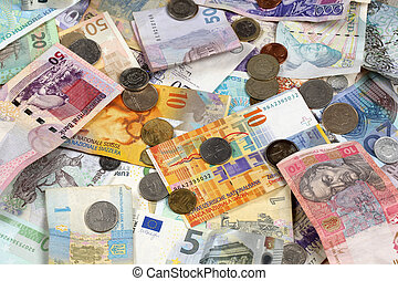 notas, muitos, doação, moedas