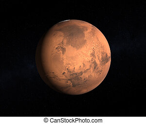 Planet Mars - A rendering of the Planet Mars on a starry...