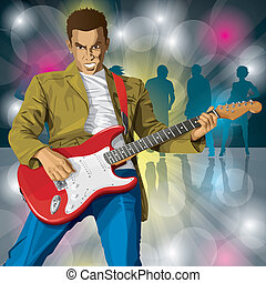 Punk With The Guitar - Vector punk man with the guitar All...