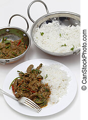 Spiced lamb curry dinner