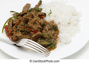 Spiced lamb curry meal with fork - A meal of spiced lamb...