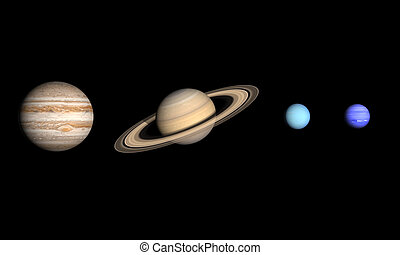 Planets Jupiter Saturn Uranus and Neptune - A comparison...