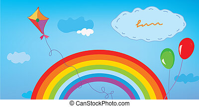Background with rainbow, sky, kite and balloons for kids