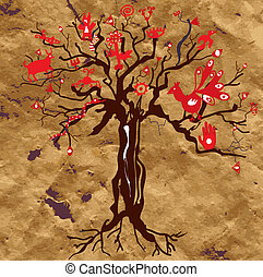 Mystic tree on the paper texture with symbols and eyes