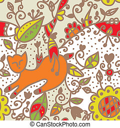 Floral seamless ethnic pattern with cat, fish, leaves
