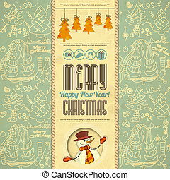 Retro Merry Christmas Card with Snowman in Vintage Style....