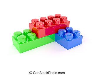 Plastic toy blocks - 3d render of plastic toy blocks on...